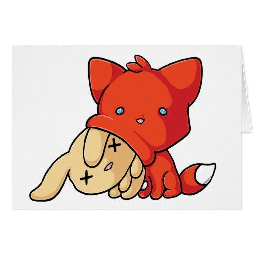 SCHLUP Fox Eating Rabbit Card