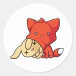 SCHLUP Fox Eating Rabbit Classic Round Sticker