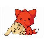 SCHLUP Fox Eating Rabbit Post Card