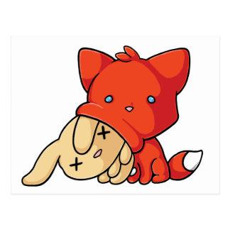 SCHLUP Fox Eating Rabbit Postcard