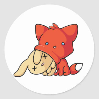 SCHLUP Fox Eating Rabbit Classic Round Sticker