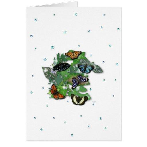 Schmetterlinge mit Blätter, Regentropfen, Perlen Tarjeta De Felicitación