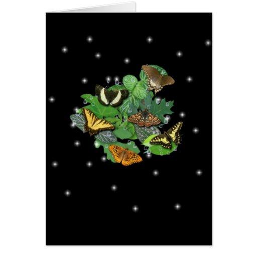 Schmetterlinge mit Blätter, Regentropfen, Sterne Grußkarte