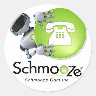 Schmooze Bot Peeking From Behind Logo Classic Round Sticker