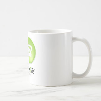 Schmooze Bot Peeking From Behind Logo Coffee Mug