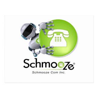 Schmooze Bot Peeking From Behind Logo Postcard