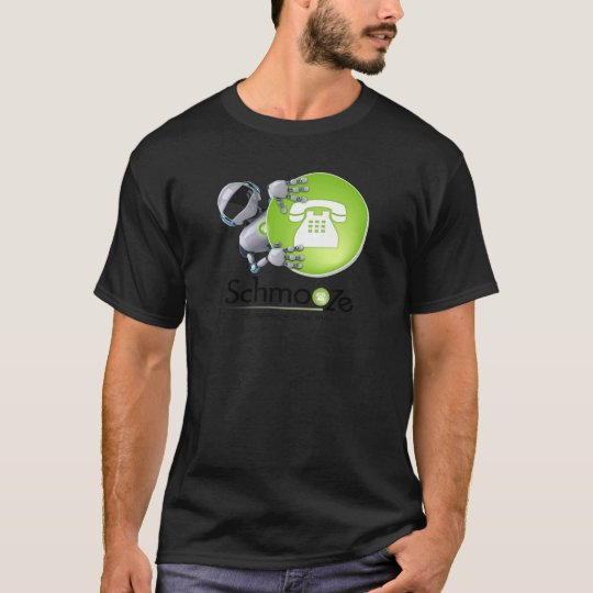 Schmooze Bot Peeking From Behind Logo T-Shirt