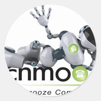 schmoozebot-lyning down.png classic round sticker