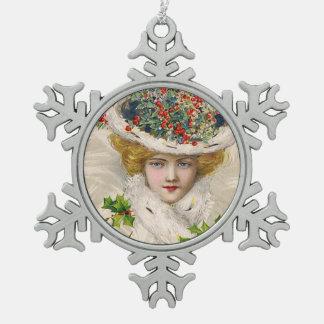 Schmucker: Mujer con el gorra del acebo Adorno De Peltre En Forma De Copo De Nieve