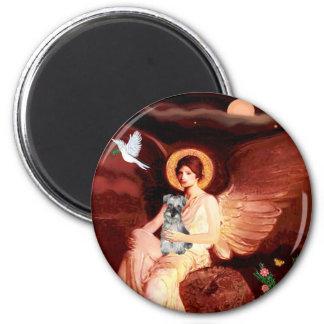 Schnauzer 1N - Seated Angel 2 Inch Round Magnet