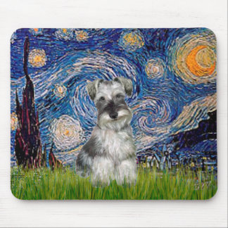 Schnauzer 1N - Starry Night Mouse Pad