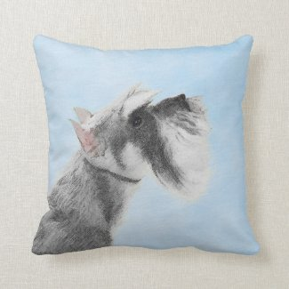 Schnauzer 3 throw pillow