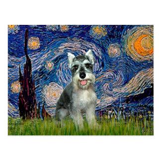 Schnauzer 8cr - Starry Night Postcard