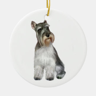 Schnauzer (A11) Double-Sided Ceramic Round Christmas Ornament