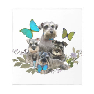 Schnauzer and Butterflies gifts and apparel Notepad