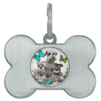 Schnauzer and Butterflies gifts and apparel Pet Name Tag