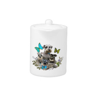 Schnauzer and Butterflies gifts and apparel Teapot