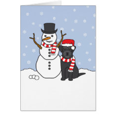 Schnauzer and Snowman Card at Zazzle