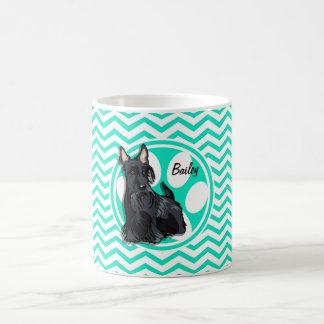 Schnauzer Aqua Green Chevron Coffee Mug