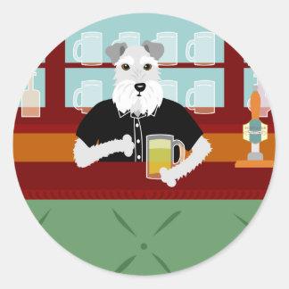 Schnauzer Beer Pub Classic Round Sticker