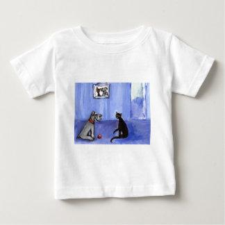Schnauzer Black cat greetings Baby T-Shirt