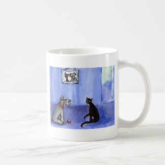 Schnauzer Black cat greetings Mugs