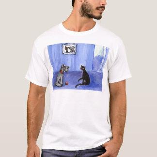 Schnauzer Black cat greetings T-Shirt