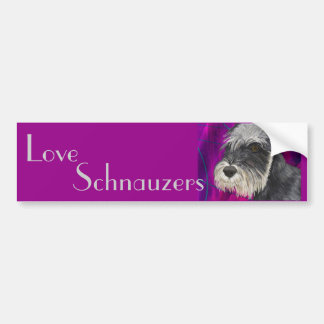 Schnauzer blanco y negro con el fondo púrpura pegatina para auto