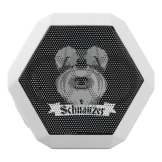 Schnauzer blanco y negro lindo altavoces bluetooth blancos boombot REX