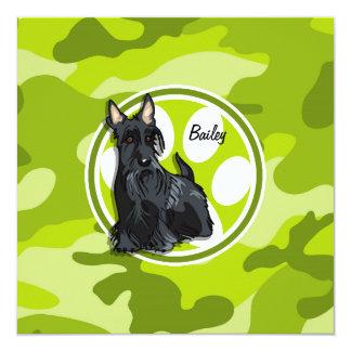 """Schnauzer; bright green camo, camouflage 5.25"""" square invitation card"""