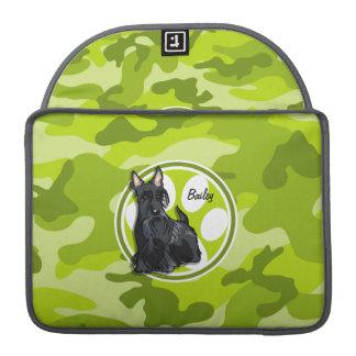 Schnauzer; bright green camo, camouflage sleeve for MacBook pro