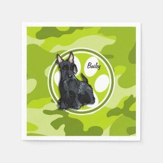Schnauzer; bright green camo, camouflage disposable napkin