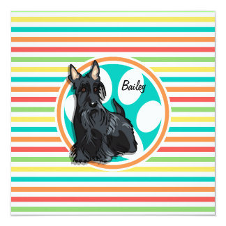 """Schnauzer; Bright Rainbow Stripes 5.25"""" Square Invitation Card"""