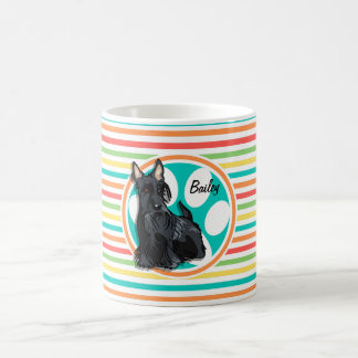 Schnauzer; Bright Rainbow Stripes Coffee Mug