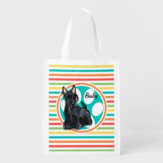 Schnauzer; Bright Rainbow Stripes Reusable Grocery Bag