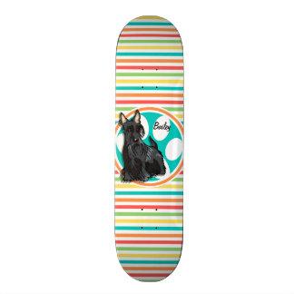 Schnauzer; Bright Rainbow Stripes Skateboard Deck
