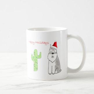 Schnauzer Cactus Christmas Classic White Coffee Mug