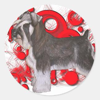 Schnauzer con los círculos rojos pegatinas redondas