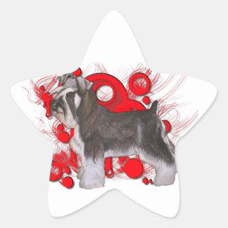 Schnauzer con los círculos rojos pegatinas forma de estrellaes personalizadas