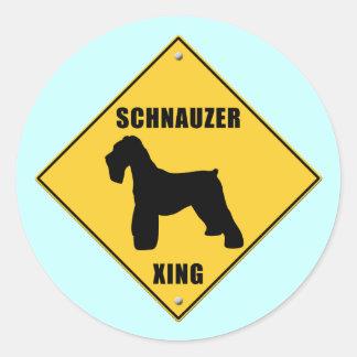Schnauzer Crossing (XING) Sign Classic Round Sticker