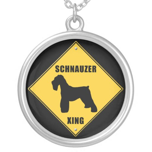 Schnauzer Crossing (XING) Sign Custom Necklace