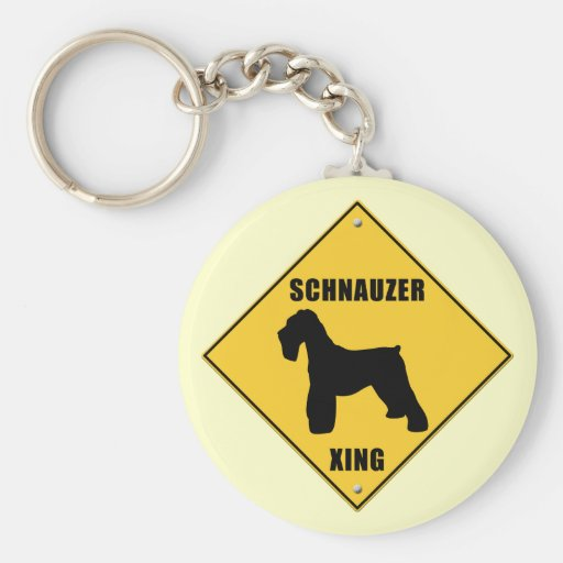 Schnauzer Crossing (XING) Sign Key Chain