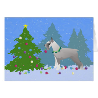 Schnauzer Decorating Christmas Tree in the forest Card