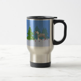 Schnauzer Decorating Christmas Tree in the forest Travel Mug