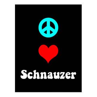 Schnauzer del amor de la paz postal
