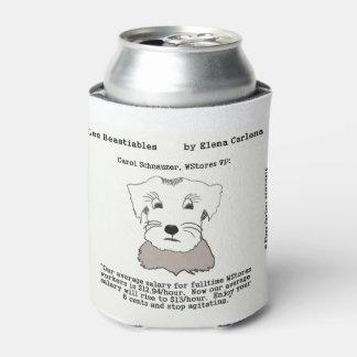 Schnauzer del villancico en los salarios de enfriador de latas