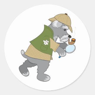 Schnauzer Detective Classic Round Sticker