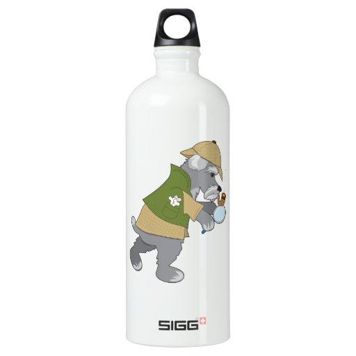 Schnauzer Detective Water Bottle
