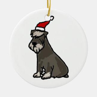 Schnauzer divertido en gorra del navidad ornamentos de navidad