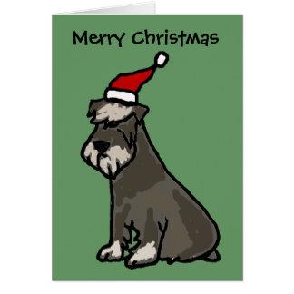 Schnauzer divertido en gorra del navidad tarjeta de felicitación